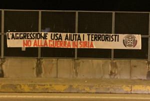 Anche a Cuneo lo striscione di Casa Pound contro la guerra in Siria