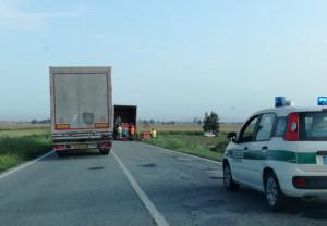 Camion carico di panettoni si ribalta sulla 'Reale'