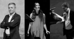 Ezio Mauro, Chiara Gamberale e Michele Serra sul palco del Toselli per 'Scrittori a teatro'