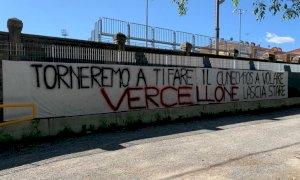 Domani l'asta per il marchio del Cuneo 1905, davanti allo stadio compare uno striscione