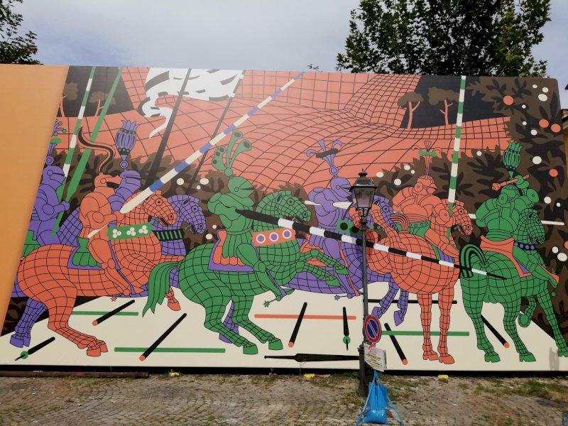 Cuneo, una 'gigantografia d'artista' per il cantiere dell'ex Frigorifero militare