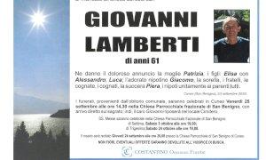 San Benigno in lutto per la morte di Giovanni Lamberti
