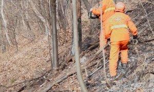 Roccasparvera, è ripartito l'incendio boschivo scoppiato stanotte