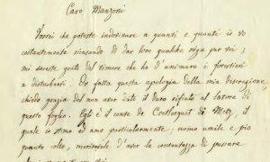 All'asta per mille euro una lettera inviata da Silvio Pellico ad Alessandro Manzoni nel 1849