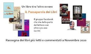 'Un libro tira l'altro': ecco i libri più letti e commentati del mese di novembre