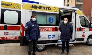 Un'ambulanza della Maxiemergenza regionale all'ospedale di Savigliano