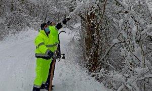Busca, mezzi e volontari al lavoro per la neve