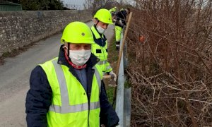 Busca, i volontari della Protezione civile hanno ripulito la scarpata lungo la ferrovia