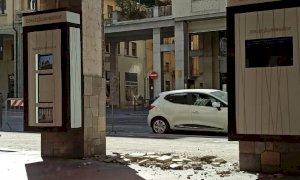 Cuneo, crolla l'intonaco di un pilone in corso Nizza