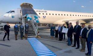 È atterrato ieri sera a Levaldigi il primo volo Air Dolomiti Monaco-Cuneo