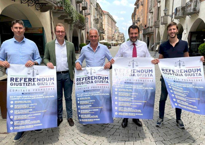 Salvini a Cuneo per sostenere il referendum sulla giustizia di Lega e Radicali