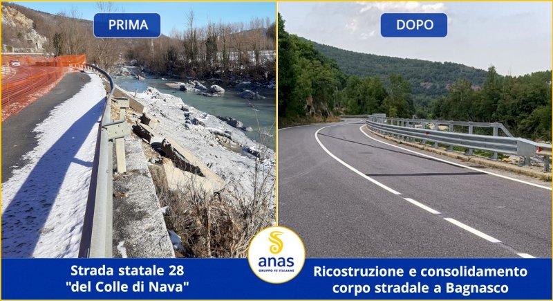 Rimossi i cantieri post alluvione: si viaggia senza limitazioni sulla statale 28 del Colle di Nava