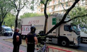 Cuneo, camion della Brizio Salumi urta il ramo di un albero in corso IV Novembre