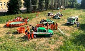 A Paesana la grande esercitazione del Corpo Anti incendi boschivi del Piemonte