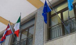 Bandiere esposte per la festa di San Francesco, patrono d'Italia